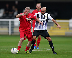 Head for Change's Craig Hignett (left) and Team Solan's McCann during the Head for Change and the Solan Connor Fawcett Trust charity match at Spennymoor Town FC, County Durham. Picture date: Sunday September 26, 2021.