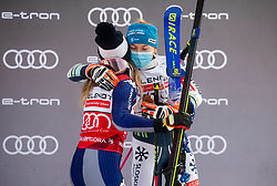 First placed Marta Bassino (ITA) and third placed Meta Hrovat (SLO) celebrate during trophy ceremony after 2nd Run of Ladies' Giant Slalom at 57th Golden Fox event at Audi FIS Ski World Cup 2020/21, on January 17, 2021 in Podkoren, Kranjska Gora, Slovenia. Photo by Vid Ponikvar / Sportida