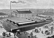 Factory at Aubervilliers, France, for making, recharging and servicing batteries for the electric cabs used in Paris.  From 'La Nature' Paris 1899.