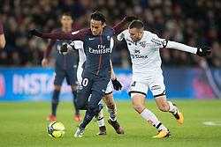 Neymar Jr of Paris Saint-Germain in action with Jordan Marie of Dijon FCO during the Ligue 1 match between  Paris Saint Germain and Dijon FCO at the Parc des Princes in Paris, FRANCE on January 17, 2017.Paris Saint Germain won Dijon FCO with 8-0 (Credit Image: © Jack Chan/Chine Nouvelle/Xinhua via ZUMA Wire)