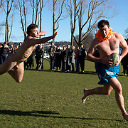 A Fijian try, despite the desperate dive of a Nude Black during the 'Nude Blacks' versus a Fijian invitation side played at Logan Park, Dunedin as an unofficial curtain raiser match before the New Zealand V Fiji test match in Dunedin, New Zealand...The 'Nude Blacks' won the match 20-10 with 21 year old female player Rachel Scott, a member of the Otago women's rugby team named player of the day. .Over 500 people turned up to watch the match which included a blind referee, Julie Woods and three clothed streakers who were ejected from the playing area..The 'Nude Blacks' traditionally play games before test matches in Dunedin and were using this match as a warm up for three nude games planned during the IRB Rugby World Cup in New Zealand with teams from Argentina, Italy, England and Ireland involved.  Matches will be played before World Cup games in Dunedin. New Zealand. 22nd July 2011. Photo Tim Clayton
