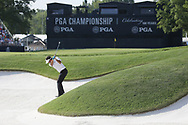 Bubba Watson (USA) hits out of a sand trap on the 18th hole during the first round of the 100th PGA Championship at Bellerive Country Club, St. Louis, Missouri, USA. 8/9/2018.<br /> Picture: Golffile.ie | Brian Spurlock<br /> <br /> All photo usage must carry mandatory copyright credit (© Golffile | Brian Spurlock)