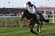 Fourth placed Walk In The Mill and jockey James Best heading to the strart 5:15pm The Randox Health Grand National Steeple Chase (Grade 3) 4m 2f during the Grand National Meeting at Aintree, Liverpool, United Kingdom on 6 April 2019.