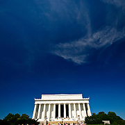 Wide-angle of the exterior of Lincoln Memorial on with a deep blue sky and copyspace