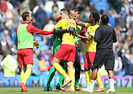 Craig Cathcart and Heurelho Gomes celebrate victory during the Sky Bet Championship match between Brighton and Hove Albion and Watford at the American Express Community Stadium, Brighton and Hove, England on 25 April 2015.