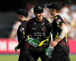 Somerset's Steve Davies with team-mate Somerset's Tom Abell<br /> <br /> Photographer Simon King/Replay Images<br /> <br /> Vitality Blast T20 - Round 1 - Somerset v Gloucestershire - Friday 6th July 2018 - Cooper Associates County Ground - Taunton<br /> <br /> World Copyright © Replay Images . All rights reserved. info@replayimages.co.uk - http://replayimages.co.uk