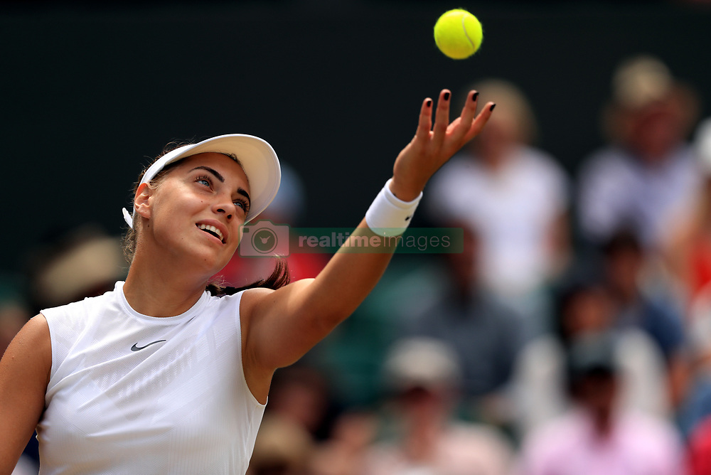 Ana Konjuh in action against Venus Williams on day seven of the Wimbledon Championships at The All England Lawn Tennis and Croquet Club, Wimbledon.