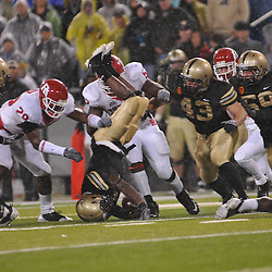 Oct 23, 2009; West Point, N.Y., USA; Army wide receiver Damion Hunter (7) is upended while returning a kickoff during Rutgers' 27 - 10 victory over Army at Michie Stadium.
