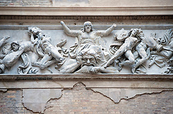 Detail of ornate frieze in the Greek Courtyard in the newly renovated Neues Museum on the Museuminsel in central Berlin reopened after many years construction work Architect David Chipperfield March 2009