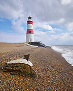 The old lighthouse on Orford Ness in Suffolk is in imminent danger of falling into the sea as the shingle beneath it is eroded.