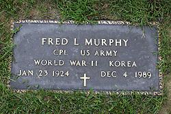 31 August 2017:   Veterans graves in Park Hill Cemetery in eastern McLean County.<br /> <br /> Fred L Murphy  Corporal US Army  World War II  Korea  Jan 23 1924  Dec 4 1989