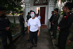 May 19, 2017 - Bangkok, Bangkok, Thailand - Police officers detained relatives of shot death victims from the military crackdown on May 19, 2010 while gathering 7 years mourning activities by laying flowers and contributed a dramatic performance where the incident took place. On those violated incidents made 99 deaths and over 200 injured. (Credit Image: © Thitinun Sampiphat/Pacific Press via ZUMA Wire)