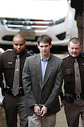 CHARLOTTESVILLE, VA - FEBRUARY 14: George Huguely is escorted to court as his trial in the death of former girlfriend Yeardley Love continues in Charlottesville, VA. Huguely was charged in the May 2010 death of his girlfriend Yeardley Love. She was a member of the Virginia women's lacrosse team. Huguely pleaded not guilty to first-degree murder. (Credit Image: © Andrew Shurtlef
