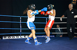 TV presenter LOUISE WHITE (blue shorts) and GEORGIE DOWNIE (red shorts) at the Boodles Boxing Ball in aid of the sports charity Sparks  organised by Jez lawson, James Amos and Charlie Gilkes held at The Royal Lancaster Hotel, Lancaster Terrae London W2 on 3rd June 2006.<br /> <br /> NON EXCLUSIVE - WORLD RIGHTS