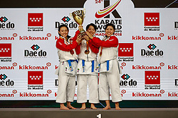November 11, 2018 - Madrid, Madrid, Spain - Japan Team with gold medal of female Kata Team during the Finals of Karate World Championship celebrates in Wizink Center, Madrid, Spain, on November 11th, 2018. (Credit Image: © AFP7 via ZUMA Wire)