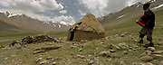 """Our first yurt, finally! A yurt owned by Wakhis shepherd at the settlement of Math Kuf, bought off Kyrgyz a long time ago and used as guest room for the passing travelers on their way to the Little Pamir. Shpodkis (""""Rhubarb"""") Valley.<br /> <br /> Adventure through the Afghan Pamir mountains, among the Afghan Kyrgyz and into Pakistan's Karakoram mountains. July/August 2005. Afghanistan / Pakistan."""