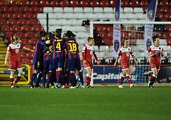 FC Barcelona celebrate  - Photo mandatory by-line: Joe Meredith/JMP - Mobile: 07966 386802 - 13/11/2014 - SPORT - Football - Bristol - Ashton Gate - Bristol Academy Womens FC v FC Barcelona - Women's Champions League
