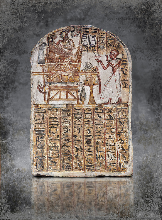 Ancient Egyptian Stele of Amenemope dedicated to Amenhotep I and Ahmose-Nefertari, limestone, New Kingdom, 19th Dynasty, (1279-1213 BC), Deir el-Medina, Drovetti cat 1452. Egyptian Museum, Turin. .<br /> <br /> Visit our HISTORIC WALL ART PRINT COLLECTIONS for more photo prints https://funkystock.photoshelter.com/gallery-collection/Historic-Antiquities-Photo-Wall-Art-Prints-by-Photographer-Paul-E-Williams/C00002uapXzaCx7Y<br /> <br /> Visit our Museum ART & ANTIQUITIES COLLECTIONS to browse more photo at: https://funkystock.photoshelter.com/p/museum-antiquities