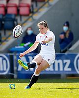 Caption Template Rugby Union - 2021 Women Six Nations - Pool A - England vs Scotland - Castle Park, Doncaster<br /> <br /> Emily Scarratt of England scores a conversion at Castle Park <br /> <br /> Credit COLORSPORT/LYNNE CAMERON