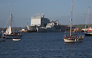 Naval ships and yachts in the port, Falmouth, Cornwall, England, UK