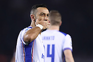 Fabio Quagliarella of Sampdoria celebrates with team mates after scoring form the penalty spot to give the side a 3-1 lead during the Serie A match at Stadio Grande Torino, Turin. Picture date: 8th February 2020. Picture credit should read: Jonathan Moscrop/Sportimage