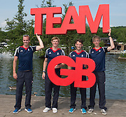 Caversham, Nr Reading, Berkshire.<br /> <br /> GBR LM4_, left to right, Peter CHAMBERS,Jonno CLEGG, Chris BARTLEY and Mark ALDRED. Olympic Rowing Team Announcement  Press conference at the RRM. Henley.<br /> <br /> Thursday  09.06.2016<br /> <br /> [Mandatory Credit: Peter SPURRIER/Intersport Images] 09.06.2016,