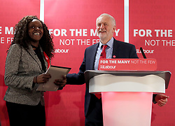 Labour leader Jeremy Corbyn with Fiona Onasanya, Labour's candidate for Peterborough, during an election campaign visit to Peterborough United Football Club.