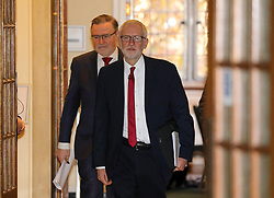 © Licensed to London News Pictures. 21/10/2019. London, UK. Barry Gardiner Shadow Secretary of State for Trade and Jeremy Corbyn arrive at Church House, London to announce a major statement on the NHS. Jeremy Corbyn later holds up redacted documents that are secret talks between the Government and the US on the NHS. Photo credit: Alex Lentati/LNP