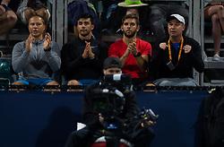 March 22, 2019 - Miami, FLORIDA, USA - Daniel Dobre watches Simona Halep during the second-round at the 2019 Miami Open WTA Premier Mandatory tennis tournament (Credit Image: © AFP7 via ZUMA Wire)