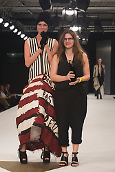 © Licensed to London News Pictures. 02/06/2015. London, UK. Melissa Villevieille (Edinburgh School of Art) winner of the Womenswear Award and the Catwalk Textiles Award. Graduate Fashion Week 2015 concludes with the Gala Awards Show at the Old Truman Brewery, London. Photo credit : Bettina Strenske/LNP