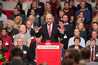 19 MAR 2017, BERLIN/GERMANY:<br /> Martin Schulz, SPD Parteivorsitzende und Spitzenkandidat der Bundestagswahl, haelt die Abschlussrede des Parteitages, a.o. Bundesparteitag, Arena Berlin<br /> IMAGE: 20170319-01-097<br /> KEYWORDS: party congress, social democratic party, candidate, speech