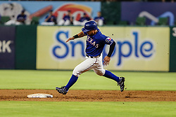 May 7, 2018 - Arlington, TX, U.S. - ARLINGTON, TX - MAY 07: Texas Rangers right fielder Shin-Soo Choo (17) rounds second base during the game between the Texas Rangers and the Detroit Tigers on May 07, 2018 at Globe Life Park in Arlington, Texas. Texas defeats Detroit 7-6. (Photo by Matthew Pearce/Icon Sportswire) (Credit Image: © Matthew Pearce/Icon SMI via ZUMA Press)