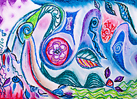 abstract image representing positive thoughts rising in mind with circles, curls, concentric forms and shapes of nature in blue, violet, red, green, white and black tones.