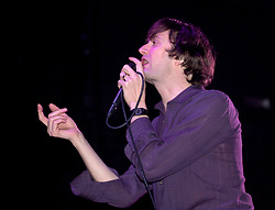 Vocalist Jarvis Cocker performs on stage at Pulps last concert in Sheffields  Magna Centre 14th December 2002 <br /> Pulp went on to reform in 2011<br /> <br /> 14 December 2002<br /> Image Copyright Paul David Drabble<br /> www.pauldaviddrabble.co.uk