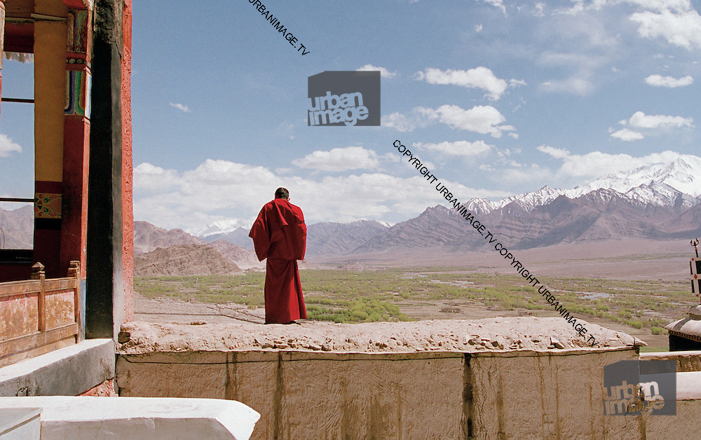Buddhist Monk and the Himalayas