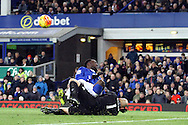 Aston Villa Goalkeeper Brad Guzan saves and clatters into Romelu Lukaku of Everton. Barclays Premier League match, Everton v Aston Villa at Goodison Park in Liverpool on Saturday 21st November 2015.<br /> pic by Chris Stading, Andrew Orchard sports photography.