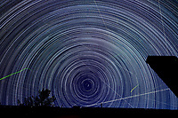 Startrail Looking North. Composite of images (21:49-04:19) taken with a Nikon D850 camera and 19 mm f/4 PC-E lens (ISO 200, 19 mm, f/4, 30 sec). Raw images processed with Capture One Pro and the composite created using Photoshop CC (scripts, statistics, maximum).