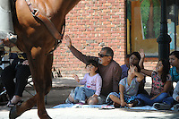 """Families enjoy the traditional Horse Parade on S. Main Street before Saturday's """"Salute To Military Day"""" at the 2014 California Rodeo Salinas."""