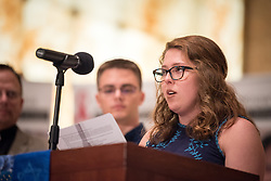 """12 September 2017, New York, USA: On 12 September, leaders from a variety of faiths and confessions gathered at the Interchurch Center Chapel in New York, for an interfaith prayer service on the theme """"Leading by Example: Faith and HIV Testing"""". Here, a group of young adult volunteers from the Presbyterian Church in the USA. Here, Maura Drewry, who attended the event as one of a group of young adult volunteers from the Presbyterian Church in the USA."""