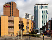 Marriott hotel and Radisson Blu hotel buildings modern architecture in city centre of Cardiff, South Wales, UK