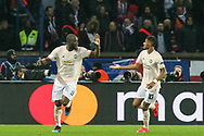GOAL - Manchester United Forward Romelu Lukaku celebrates with Manchester United Forward Marcus Rashford 1-2 during the Champions League Round of 16 2nd leg match between Paris Saint-Germain and Manchester United at Parc des Princes, Paris, France on 6 March 2019.