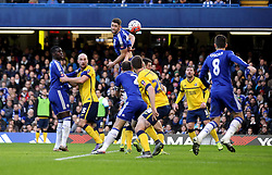 Gary Cahill of Chelsea watches as the ball goes over his head - Mandatory byline: Robbie Stephenson/JMP - 10/01/2016 - FOOTBALL - Stamford Bridge - London, England - Chelsea v Scunthrope United - FA Cup Third Round