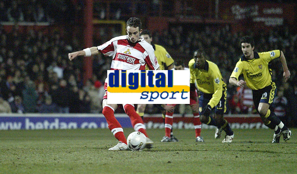 Photo: Aidan Ellis.<br /> Doncaster Rovers v Aston Villa. Carling Cup. 29/11/2005.<br /> Doncaster's Michael McIndoe scores the first goal from the penalty spot