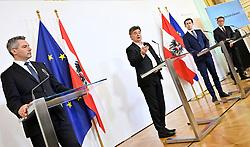 24.03.2020, Bundeskanzleramt, Wien, AUT, Coronaviruskrise, Österreich, Pressekonferenz, Aktuelles zum Coronavirus, im Bild (v.l.), Innenminister Karl Nehammer (ÖVP), Vizekanzler Werner Kogler (Grüne), Bundeskanzler Sebastian Kurz (ÖVP), Gesundheitsminister Rudolf Anschober (Grüne) // during a press conference of Austrian Goverment about the Coronavirus Pandemie at the Bundeskanzleramt in Wien, Austria on 2020/03/24. EXPA Pictures © 2020, PhotoCredit: EXPA/ Hans Punz/APA-POOL