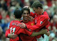 Ruud Van Nistelrooy celebrates scoring his 3rd goal for Manchester United with Ryan Giggs and Ole Gunnar Solskjaer. Manchester United v Charlton Athletic, FA Premiership, 3/05/2003. Credit: Colorsport / Matthew Impey