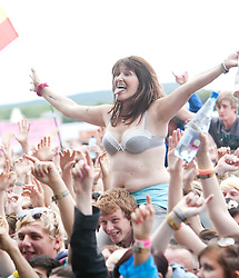 Fans as N-Dubz play the main stage..T in the Park on Saturday 9th July 2011. T in the Park 2011 music festival takes place from 7-10th July 2011 in Balado, Fife, Scotland..©Pic : Michael Schofield.