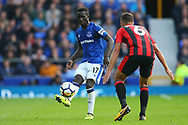 Idrissa Gueye of Everton passes the ball past Andrew Surman of Bournemouth. Premier league match, Everton vs Bournemouth at Goodison Park in Liverpool, Merseyside on Saturday 23rd September 2017.<br /> pic by Chris Stading, Andrew Orchard sports photography.