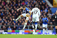 Leighton Baines of Everton and Modou Barrow of Swansea City challenge for the ball. Premier league match, Everton v Swansea city at Goodison Park in Liverpool, Merseyside on Saturday 19th November 2016.<br /> pic by Chris Stading, Andrew Orchard sports photography.