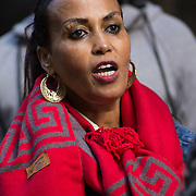 Eritreans are protesting in front of the UNHCR in London, demanding the immediate relocation of immigrants and refugees from Libya. Europe isn't their first choice, which they express as modern slavery and exploitation on Friday October 15, UK.