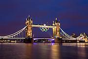 Tower Bridge during the 2012 Summer Olympics, London, England